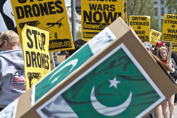 An anti-drones protest outside the White House, April 13. Nicholas Kamm—AFP