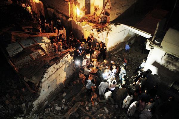 One of the blast sites in Karachi, April 27. Asif Hassan—AFP