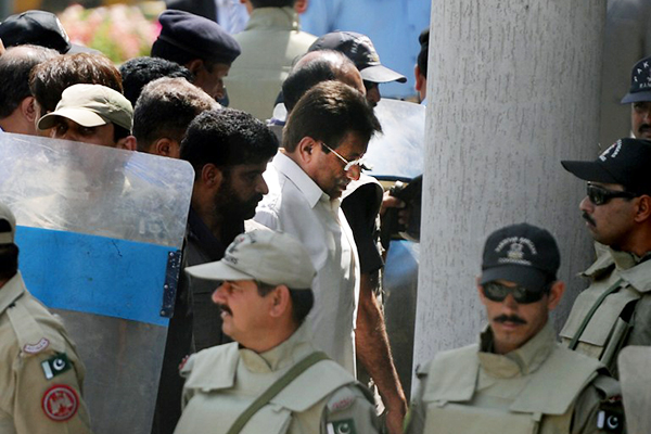 Musharraf at the Islamabad High Court, April 12. Aamir Qureshi—AFP