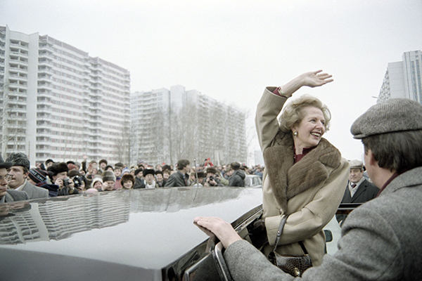 Thatcher greets crowds in Moscow, March 29, 1987. Daniel Janin—AFP