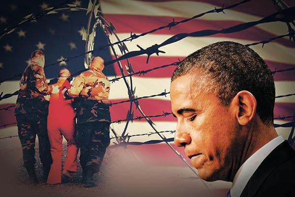 Photo illustration by Minhaj Ahmed Rafi (Jewel Samad—AFP (Obama), Tom Pennington—AFP (Flag), Shane T. McCoy—AFP (Prisoner), No credit (Barbed wire))