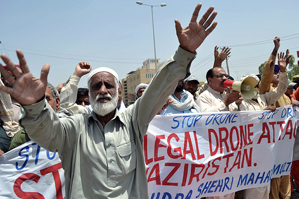 Pakistanis protest against drone attacks. S. S. Mirza—AFP