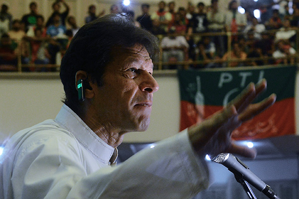 Imran Khan addresses supporters at a rally in Lahore, May 5. Arif Ali—AFP