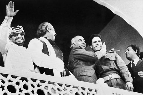 From left: Arafat, Sheikh Mujibur Rahman, Bhutto, Gaddafi in Lahore, Feb. 25, 1974. AFP