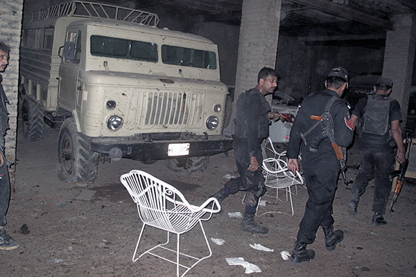 The site of the suicide attack on law minister Gandapur, Oct. 16. AFP