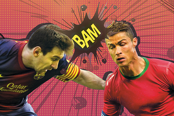 Illustration by Minhaj Ahmed Rafi; source photos: Miguel Riopa—AFP (Messi), Fabrice Coffrini—AFP (Ronaldo)