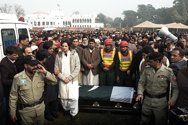 Taseer's funeral, Lahore, Jan. 5, 2011. Arif Ali—AFP