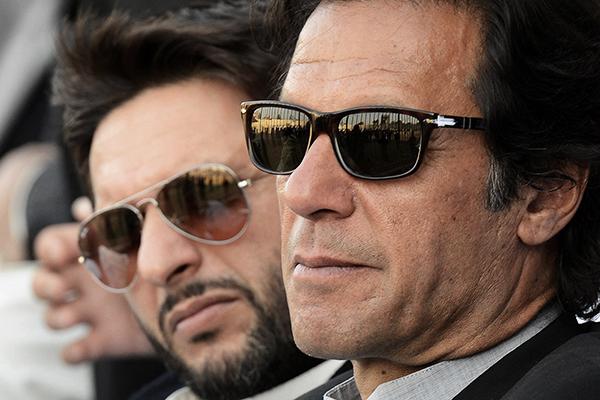 Khan and Afridi in Peshawar, Jan. 25. A. Majeed—AFP