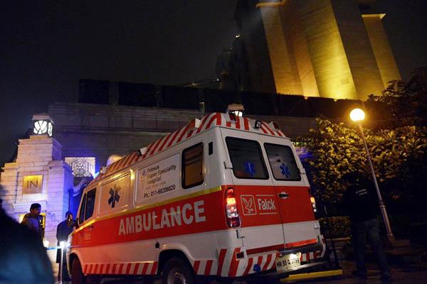 An ambulance arrives at the Leela Hotel where Sunanda Pushkar was found dead. AFP