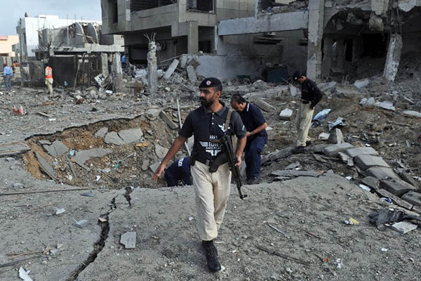 The suicide attack on Chaudhry Aslam's house, September 2011. Rizwan Tabassum—AFP