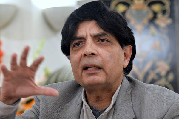 Interior Minister Chaudhry Nisar Ali Khan announces the suspension of peace talks, February 2014. Aamir Qureshi—AFP