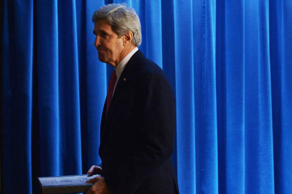 U.S. Secretary of State John Kerry at the release of the annual human rights reports, February 2014. Mandel Ngan—AFP