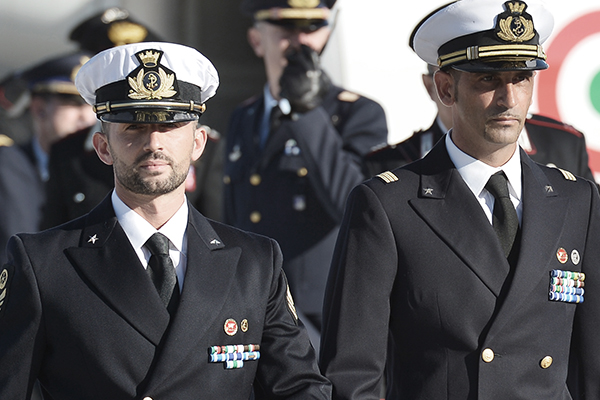 The Italian marines, Dec. 22, 2012. Vincenzo Pinto—AFP