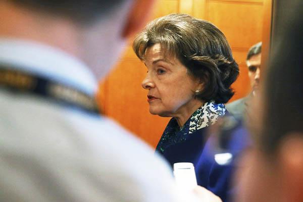 U.S. Sen. Dianne Feinstein walks off the Senate floor after speaking about the CIA. Mark Wilson—AFP
