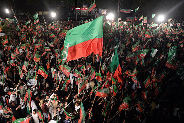 PTI supporters at the May 11 rally. Aamir Qureshi—AFP