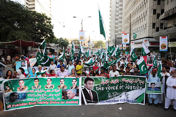 Pervez Musharraf's supporters in Karachi protest for his release. Asif Hassan—AFP