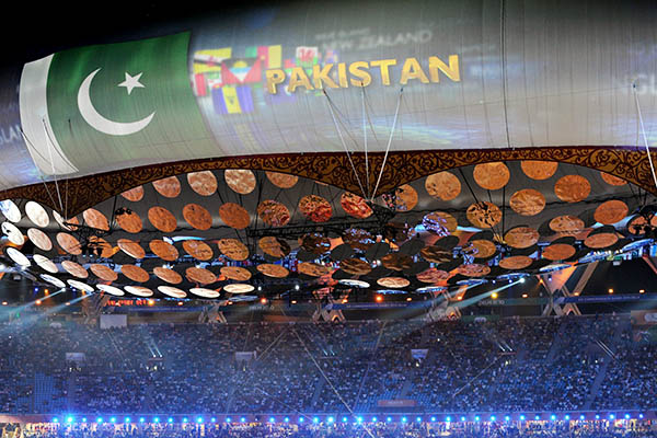 Pakistan at the 2010 Commonwealth Games in India. Indranil Mukherjee—AFP