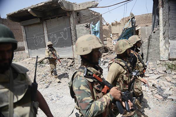 Pakistani soldiers patrol Miranshah. Aamir Qureshi—AFP