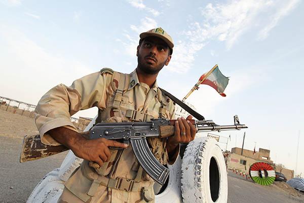 An Iranian soldier at a border patrol post. Atta Kenare—AFP