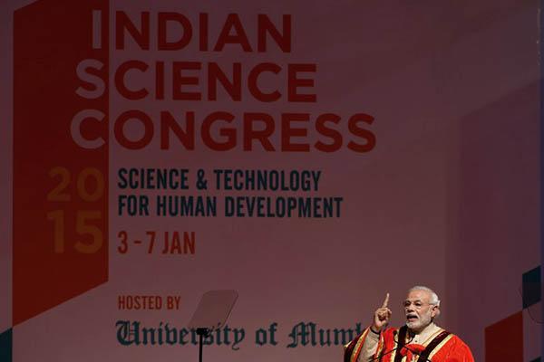 Prime Minister Narendra Modi at the 102nd Indian Science Congress. Indranil Mukherjee—AFP