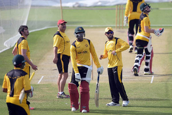 Zimbabwe cricketers at a practice session in Lahore. Aamir Qureshi—AFP