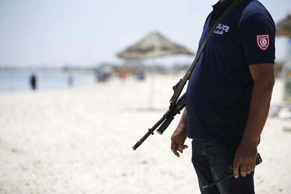 Patrolling the Port el Kantaoui beach, June 28. Kenzo Tribouillard—AFP