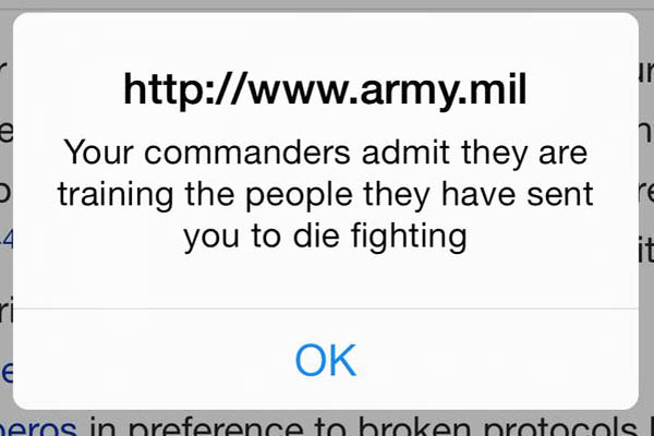One of the Syrian Electronic Army messages left on the hacked U.S. military website. Twitter.