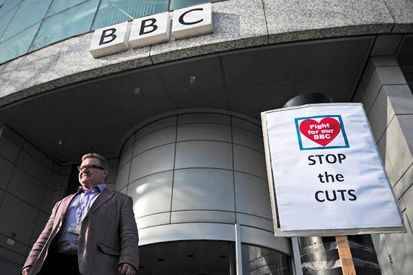 Outside the BBC White City Media Village, London. Carl Court—AFP