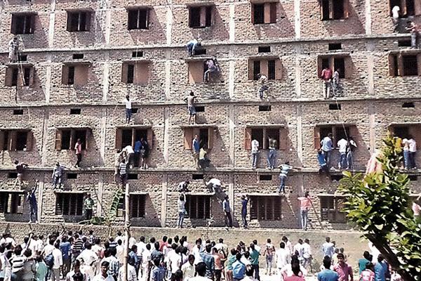 A school exam center in Vaishali, Bihar, March 19. AFP