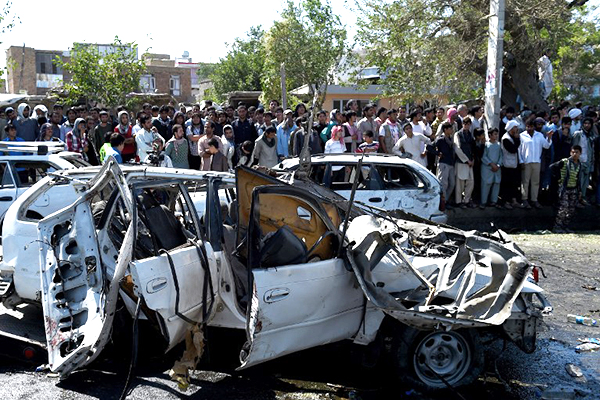 Site of a suicide car bomb attack, Kabul, June 30. Wakil Kohsar—AFP