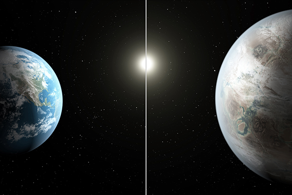 Artist's concept compares Earth (left) to Kepler-452b. T. Pyle-JPL-Caltech—NASA