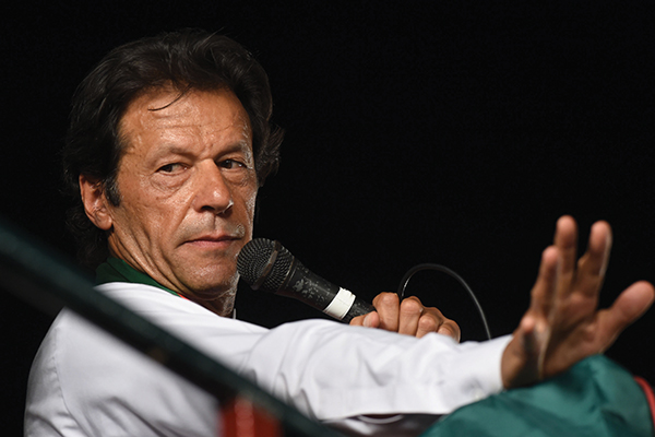 Imran Khan campaigning in Lahore's NA-122 constituency on Oct. 4. Arif Ali—AFP
