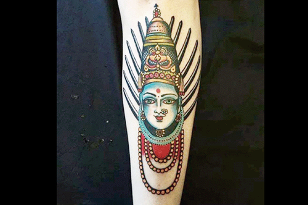 The offending tattoo of the goddess Yellama. Twitter