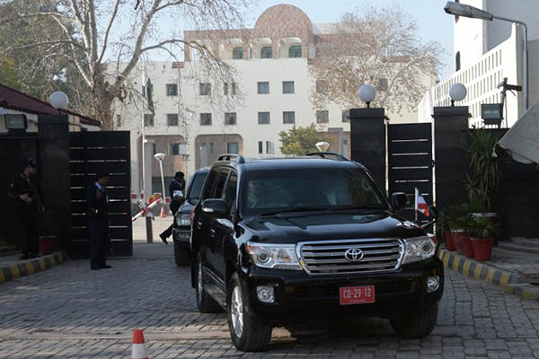 The venue of the four-way talks in Islamabad. Aamir Qureshi—AFP
