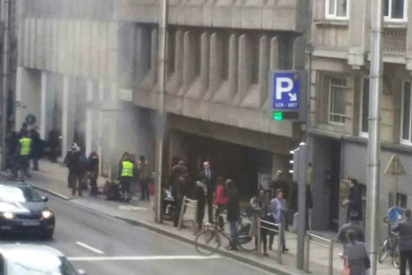 Smoke rises from the Maalbeek underground in Brussels following a blast at the station. Seppe Knapen-Belga—AFP