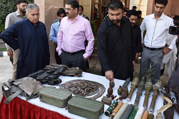 Weapons recovered from separatist militants by paramilitary forces. Banaras Khan—AFP