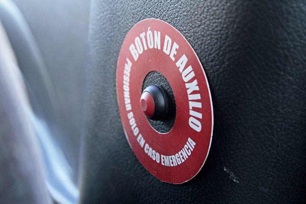 A panic button installed in a taxi in Ecuador. Juan Cevallos—AFP