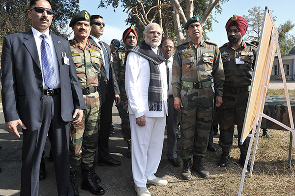 India's Prime Minister Modi with his Army chief and others at Pathankot, Jan. 9. Press Information Bureau/AFP