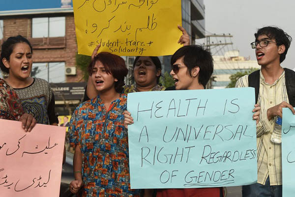 Transgender individuals and their supporters in Lahore protest the killing of Alesha. Arif Ali—AFP
