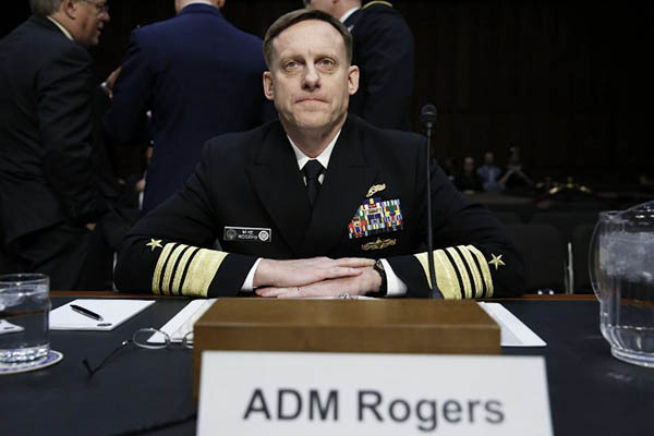 Navy Adm. Michael Rogers, commander of the U.S. Cyber Command, director of the National Security Agency and chief of Central Security Services, at a hearing on Capitol Hill in Washington. Yuri Gripas—AFP