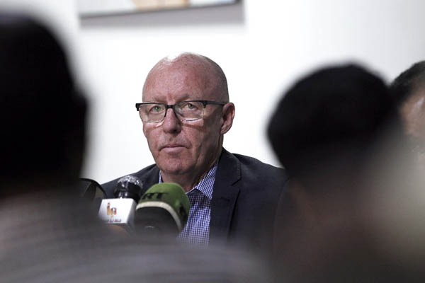 U.N. humanitarian coordinator in Yemen, Jamie McGoldrick, addresses press in Yemeni capital Sanaa. Mohammed Huwais—AFP