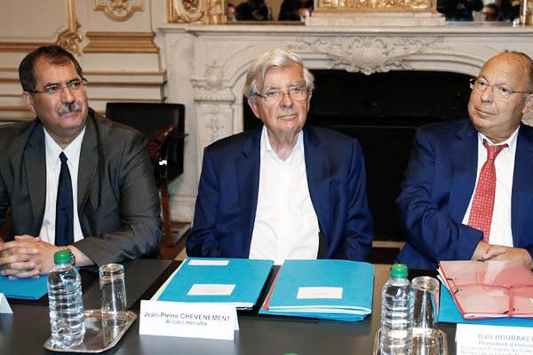 French Council of the Muslim Faith president Anouar Kbibech, Jean-Pierre Chevenement and Paris' Mosque Rector Dalil Boubakeur. Matthieu Alexandre—AFP