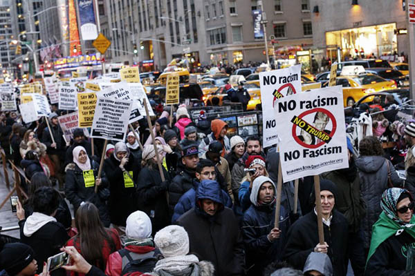 A Muslim-led protest against Donald Trump in New York on Dec. 20, 2015. Kena Betancur—AFP